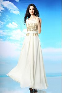 Scoop White Chiffon Side Zipper Sweet 16 Dresses Sleeveless Ankle Length Beading and Ruching