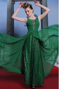 Sleeveless Chiffon and Sequined Floor Length Side Zipper Quinceanera Dress in Dark Green with Beading