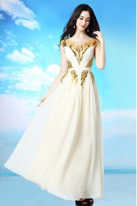 Scoop Cap Sleeves Ankle Length Sequins and Ruching Side Zipper Sweet 16 Quinceanera Dress with White