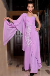 Square Half Sleeves Vestidos de Quinceanera Ankle Length Beading and Ruching Lilac Chiffon