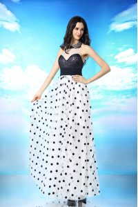 White And Black Column/Sheath Chiffon Halter Top Sleeveless Beading and Sequins and Ruching Ankle Length Side Zipper Quinceanera Dress