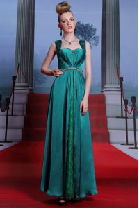 Ankle Length Zipper Quince Ball Gowns Peacock Green for Prom and Party with Beading and Lace