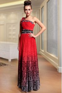 High Quality Red One Shoulder Side Zipper Beading and Pattern and Pleated 15th Birthday Dress Sleeveless