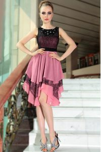 Admirable Pink And Black Scoop Side Zipper Beading and Lace Sweet 16 Dress Sleeveless