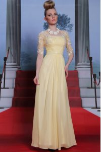 Light Yellow Column/Sheath Spaghetti Straps Half Sleeves Chiffon Floor Length Zipper Lace and Ruching 15th Birthday Dress