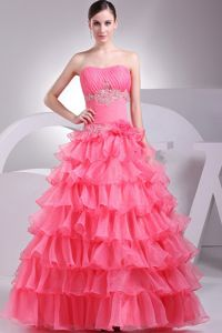 Ruching and Appliques School Autumn Party Dress in Watermelon Red