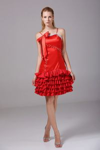 Bowknot Bodice Riffled Layers Spaghetti Straps School Spring Party Dress