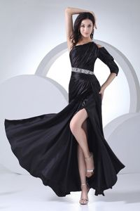 Elastic Woven Satin Beading Decorate Black School Autumn Party Dress