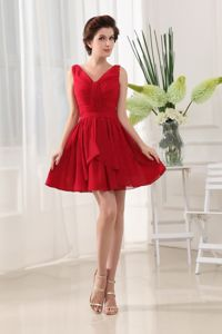 Chiffon and Ruching for School Autumn Party Dress with Mini-length in Red