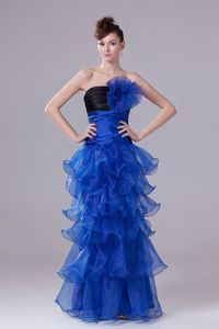 Hand Made Flowers School Spring Party Dress in Royal Blue Ruffled Layers