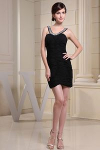 Scoop School Summer Party Dress with Ruched Over Skirt and Beading