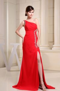 Beading and One Shoulder for School Autumn Party Dress In Red High Slit