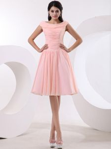 Pleats Bateau Peach Pink School Winter Party Dress with Ruched Bodice