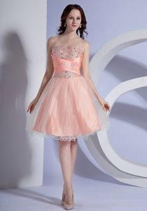 Beading Decorate Bodice A-line Peach Pink School Spring Party Dress