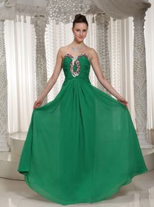 Green Sweetheart Ruched Beading Bodice Graduation Dresses for Juniors in Banff