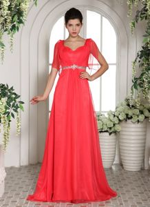 Custom Made Coral Red Square Beading Graduation Dresses for College in Banchory