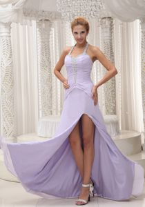 Lilac Beads Decorate Halter Ruched Accent University Graduation Dress in Thornton