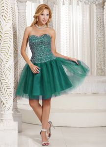 Turquoise Sweetheart Tulle Beadings College Graduation Dresses in St. Andrews