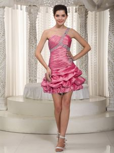 Hot Pink A-line One Shoulder Mini-length Beading Graduation Dress in Pittenweem