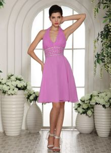 Stylish Lavender Halter Beading and Ruche Graduation Dress in North Queensferry
