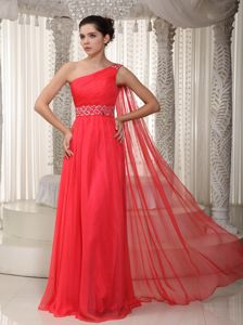 Empire One Shoulder Watteau Train Graduation Dresses for High School in Glenrothes
