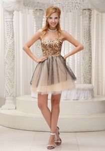 Lovely Leopard Decorate Sweetheart Graduation Dresses for 8th Grade in Cupar