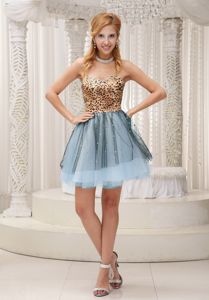 Lovely Leopard and Tulle Sweetheart Eighth Grade Graduation Dresses in Gauldry