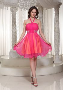 Hot Pink Halter Beaded Organza Evening Dress for Graduation in Cowdenbeath