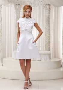 2013 High-neck White Ruffled Bust College Graduation Dresses in Auchtermuchty