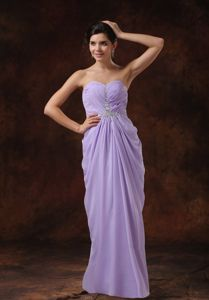 Lilac Empire Beading Chiffon Sweetheart Grad Dress in Anstruther with Beads