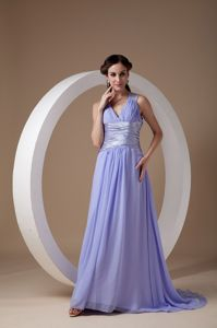 Lilac Empire V-neck Ruche Brush Train Accent Graduation Dress in Wigtown