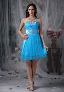 Customize Style Teal Sweetheart Beading Senior Graduation Dress in Thornhill