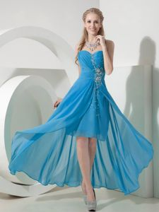 Light Blue High-low Sweetheart Beading Cute Graduation Dresses in Portpatrick