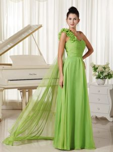 One Shoulder with Flowers Watteau Train Eighth Grade Graduation Dresses in Gretna