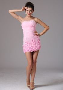 Baby Pink Sweetheart Ruche Prom Dress for Graduation in Beeswing with Flowers