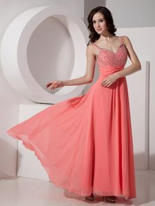 Watermelon Straps Chiffon Beading Ankle-length Grad Dress in Killin with Beadings