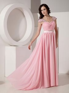 Exclusive Baby Pink Sweetheart Beads Brush / Sweep Graduation Dress in Killearn