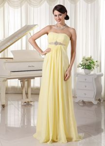 New Arrival Light Yellow Chiffon Beaded Graduation Dresses for Girls in Callander