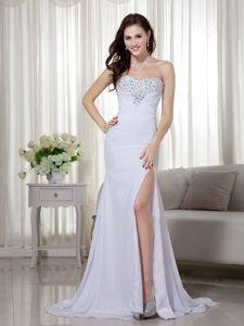 White Sweetheart Ruche Brush Train Cute Graduation Dresses in Bridge of Allan