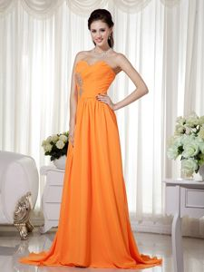 Sweetheart Brush Train Beadings and Ruche Middle School Graduation Dresses