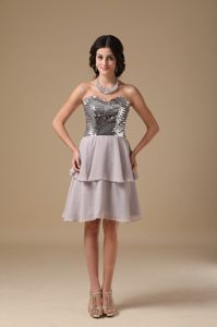 A-line Grey Sweetheart Sequin Decorated Junior Graduation Dresses in Falkirk