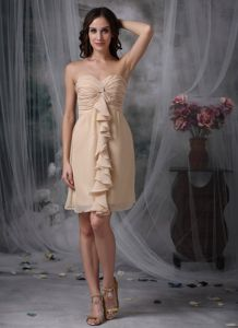 Champagne Sweetheart Chiffon Ruche Style College Graduation Dress in Tillicoultry