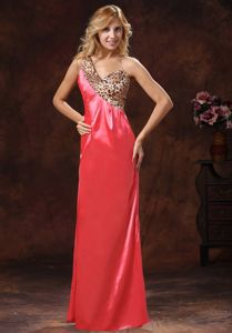 Watermelon Red One Shoulder Leopard Graduation Dresses for 8th Grade in Larbert