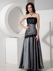 Elegant Grey Strapless Ruche Taffeta Lace Floor-length Grad Dress in Crianlarich
