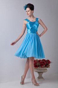 Aqua Blue Straps Knee-length Eighth Grade Graduation Dresses in Hawick with Ruche