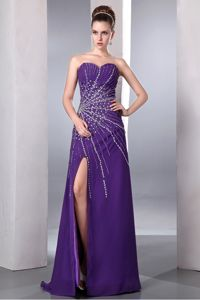 Sweetheart High Slit Beaded Purple Evening Dress for Graduation in Blue Mountain