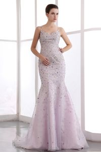 Romantic Straps Mermaid Beaded Pink Graduation Ceremony Dress with Brush Train