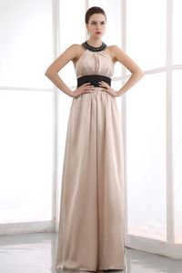 Champagne Halter Beaded Ruched Floor-length Graduation Dresses in Wangaratta
