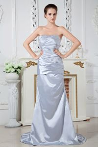 Sliver Strapless Beaded Ruched Brush Train Graduation Dresses in Dandenong, VIC