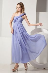Hand Flowery One Shoulder Pleated Ankle-length Chiffon Evening Dress for Graduation
